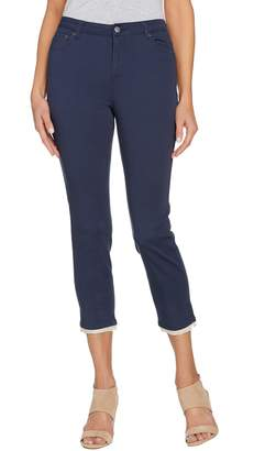 Logo By Lori Goldstein LOGO by Lori Goldstein Stretch Twill Ankle Pants w/ Lace Detail