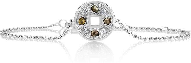 White Gold Talisman Lucky Coin Bracelet
