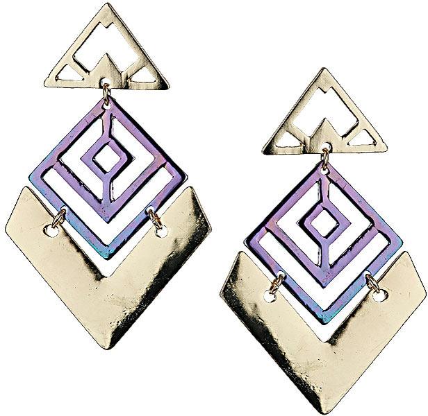 Topshop Large Cutout Iridescent Earrings