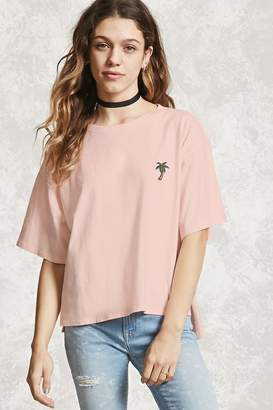 Forever 21 Palm Tree Embroidered Top