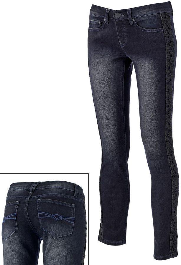 Mudd crochet skinny jeans - juniors