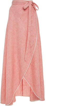 Miguelina Lace-Trimmed Linen Maxi Skirt
