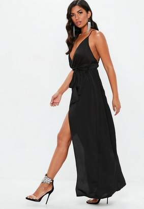 Missguided Black Plunge Satin Tie Maxi Dress