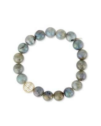 Sydney Evan Mystic Labradorite Bead Bracelet w/ 14K Gold Diamond Sphere Bead $550 thestylecure.com