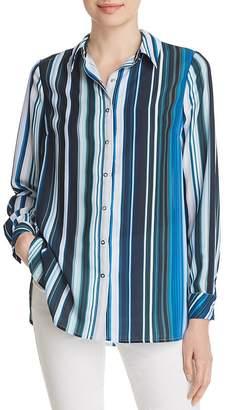 T Tahari Striped Snap-Front Shirt