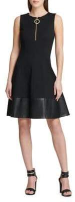 DKNY Fit-And-Flare Front Zip Dress