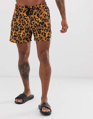 3db91dfa87 Trunks Hunky Leopard Print Swim Shorts in Short Length