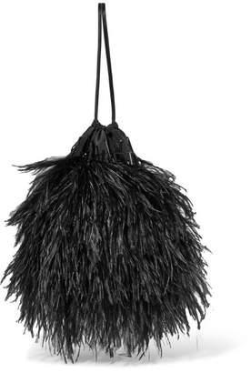 ATTICO Feather-embellished Poplin Pouch - Black