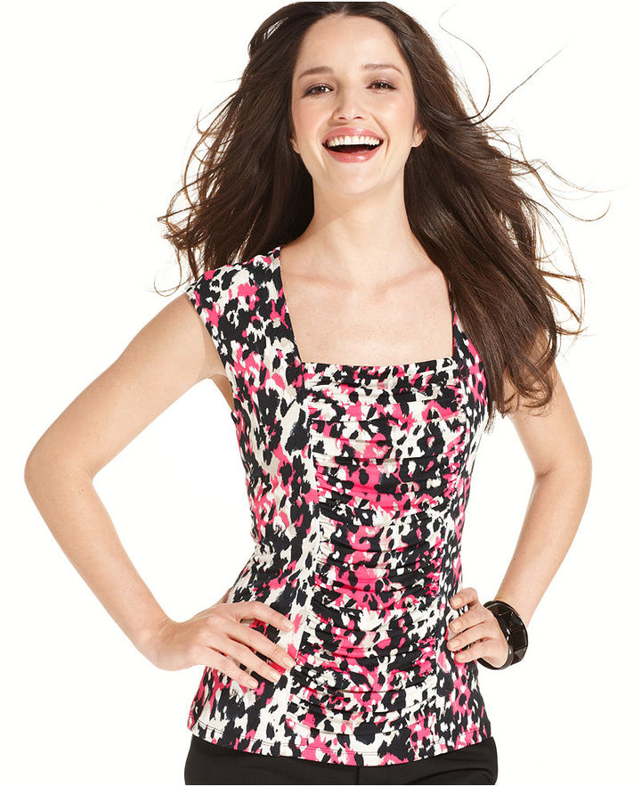 Style&Co. Top, Sleeveless Ruched Printed Shell