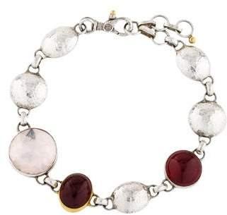 Gurhan Galapagos Rose Quartz & Garnet Link Bracelet