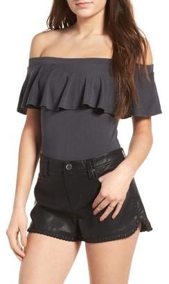 Women's Socialite Ruffle Off The Shoulder Bodysuit $35 thestylecure.com