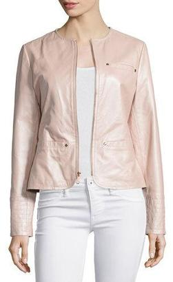 Neiman Marcus Pearlized Leather Jacket, Blush $455 thestylecure.com