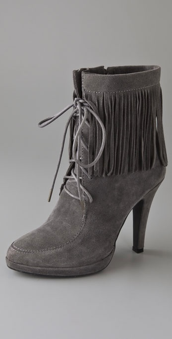 Jeffrey Campbell Fringe Lace Up Suede Booties