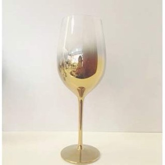 IDEA Vikko Décor Vikko Decor Gold Ombre White Wine Glasses | Thin, Handblown Glass Tall, Elegant Stem Dishwasher Safe 17.5 Ounce Cup Great Gift Set of 4 Wine Glasses