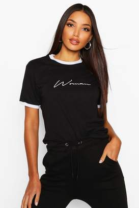 boohoo Embroidered Woman Ringer T Shirt