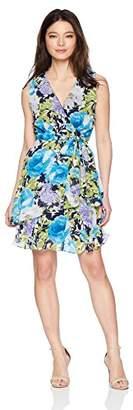 Tiana B Women's Petite Floral Mock wrap tie Waist Dress