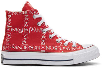 J.W.Anderson Red Converse Edition Grid Logo Sneakers