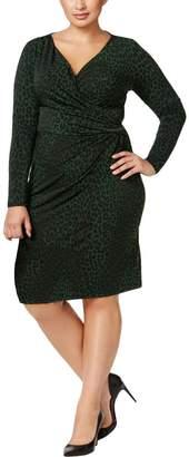 MICHAEL Michael Kors Womens Plus Animal Print Wear to Work Dress Green