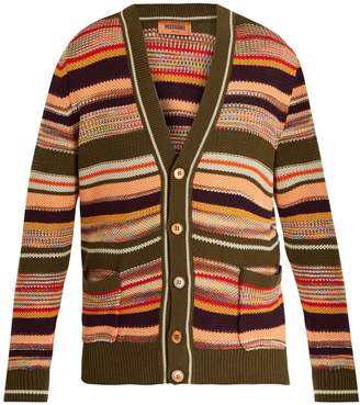 Missoni V-neck striped honeycomb-knit cotton cardigan