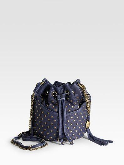 Olivia Harris Studded Baby Ball Leather Mini Hobo Bag