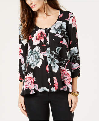 Style&Co. Style & Co Printed 3/4-Sleeve Shirt