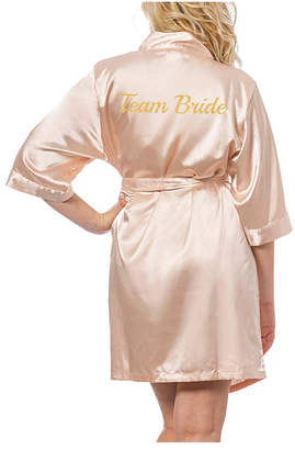 Cathy's Concepts Cathy Concepts Team Bride Blush Satin Robe