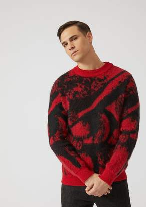 Emporio Armani Mohair Wool Blend Sweater With Brushed Two-Tone Jacquard Design
