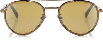 Jimmy Choo CAL Silver Mirror Lenses and Bronze Oval Frame Sunglasses with Blue Flock