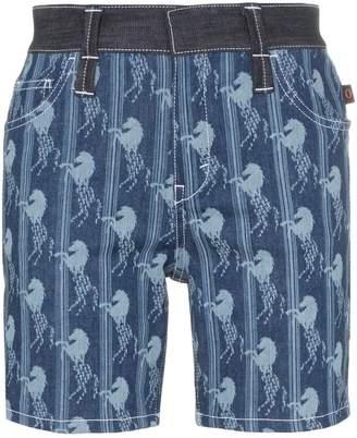 Chloé horse jacquard long denim shorts
