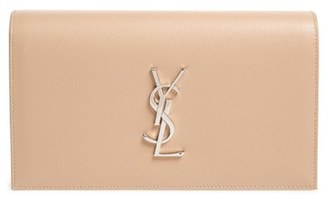 Saint Laurent 'Monogram' Leather Clutch - Beige $1,245 thestylecure.com