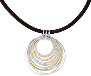Robert Lee Morris RLM Jewelry by RLM Bronze Two Tone Multi Wire Rings Pendant onLeather cord