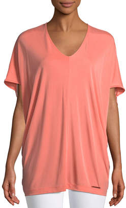 Donna Karan Short-Sleeve V-Neck Tunic Tee