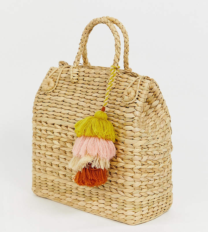 Accessorize straw effect basket tote bag