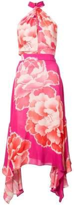 Josie Natori peony print halterneck dress