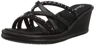 Skechers Women's Rumblers-Glass Flowers-Rhinestone Multi-Strap Slide Sandal Wedge Black