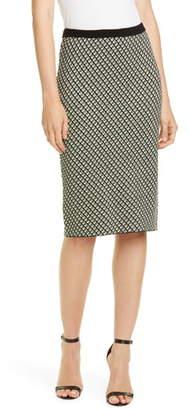 Diane von Furstenberg Mapel Geo Print Wool Blend Pencil Skirt