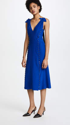 Prabal Gurung Deep V Dress with Button Detail