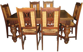 One Kings Lane Vintage Country Oak Table & 8 Chairs - Jeter's Antiques