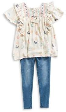 Jessica Simpson Baby Girl's Two-Piece Printed Ruffle Top Jeans Set