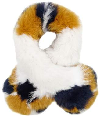 Yves Salomon Colour-block Fur Scarf