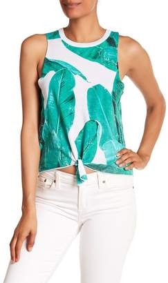 Chaser Tie Front Palm Print Tank Top