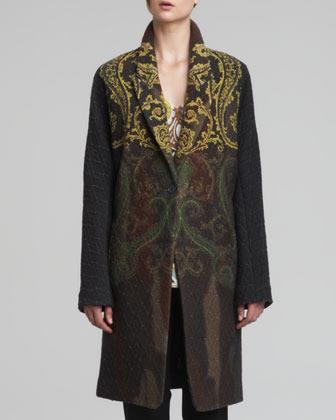 Etro Paisley Printed Coat, Green