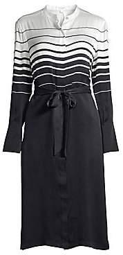 Equipment Women's Roseabelle Stripe & Solid Tie-Waist Silk-Blend Shirtdress