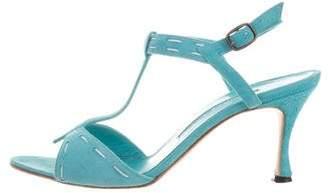 Manolo Blahnik Suede T-Strap Sandals