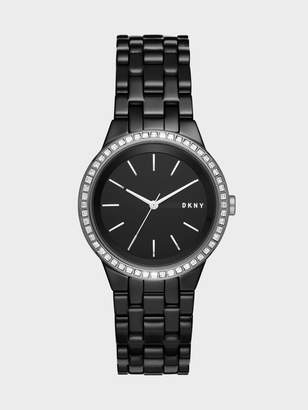 DKNY Park Slope Black Ceramic And Stainless-Steel Three-Hand Watch