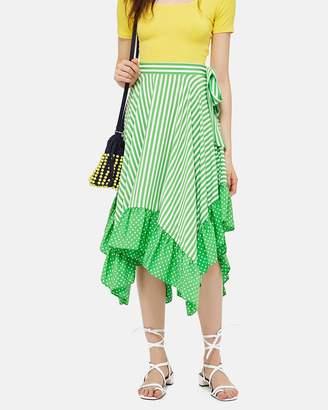 Topshop Spot and Stripe Ruffle Midi Skirt
