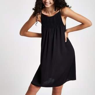 River Island Womens Black shirred slip dress