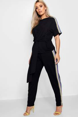 boohoo Plus Paige Side Tape Tie Top + Jogger Set