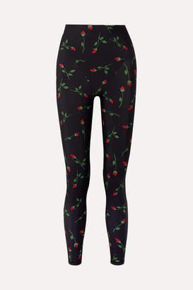 Adam Selman Floral-print Stretch Leggings - Black