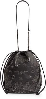 Saint Laurent Teddy Bandana Studded Leather Bucket Bag